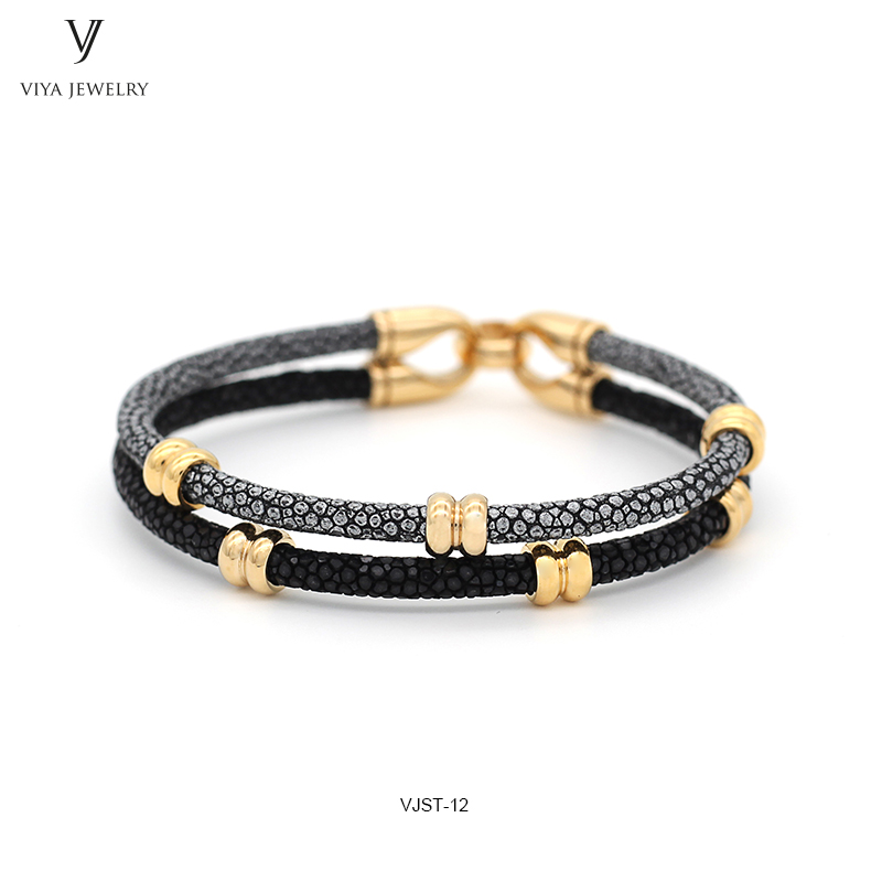 Luxury Genuine Silver And Black Mixed Color Stingray Leather Couple Bracelet Charming Custom Color Stingray Bracelets For Lovers charming color 100