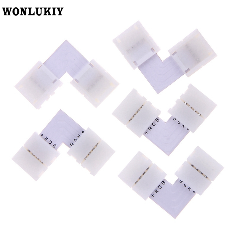 5pcs/lots 2 Pin/4 Pin/ 5 Pin L Shape Solderless LED Connector For Connecting Corner Right Angle 8mm/10mm/12mm 5050/3528 Strip