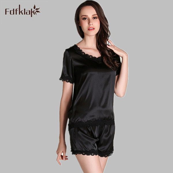 5732d44cd2 Pyjama Sexy Pajamas Summer Satin Nightwear Silk Pajamas For Women Pijama  Plus Size Short Sleeve Homewear Sleepwear Sets E1118