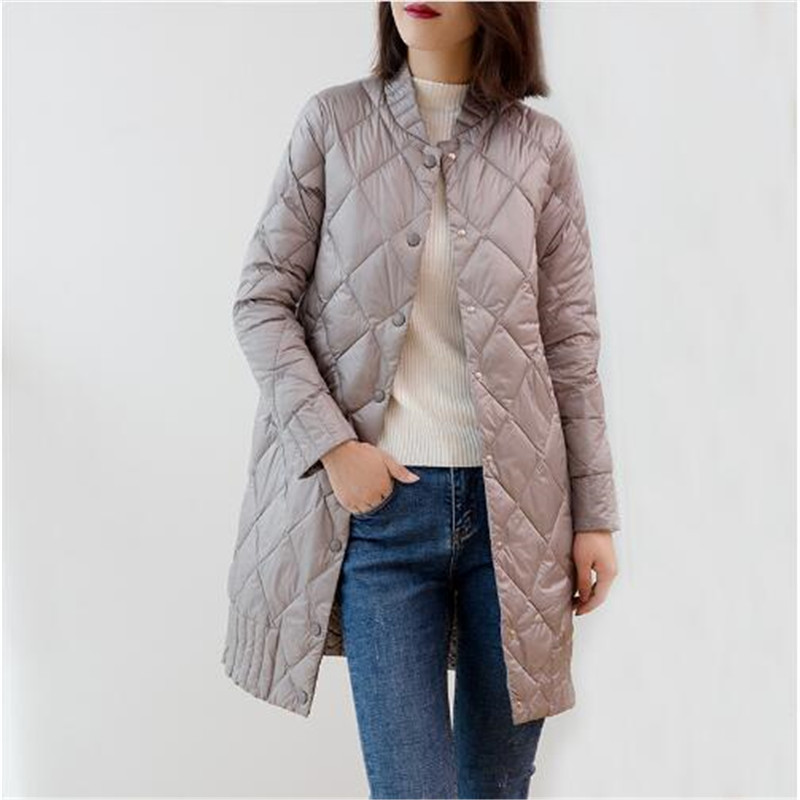 2018 Women Ultra Light   Down   Jackets Autumn Winter Thin White Duck   Down   Jacket Parka Female Solid Midi Long Outerwear   Coat