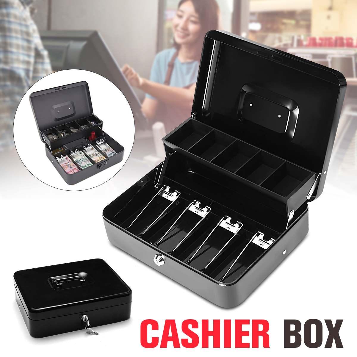 12 pouces boîte de caisse noire argent tiroir clé verrouillage sûr verrouillage plateau à plusieurs niveaux stockage pour la sécurité maison bureau conteneur outils