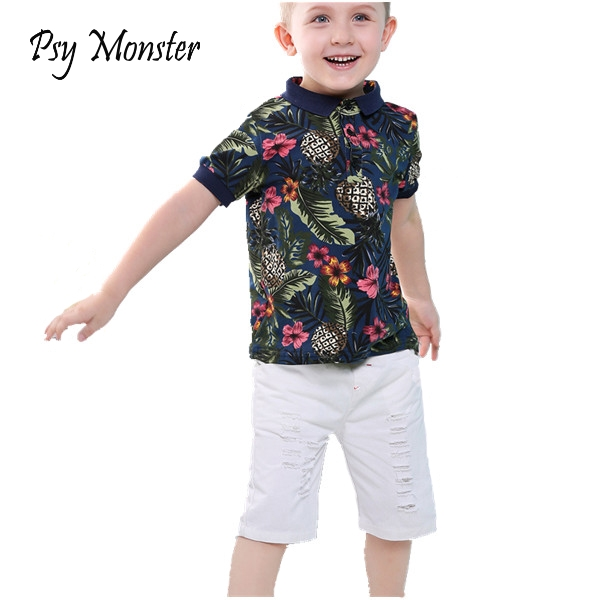 Brand Baby Boys Clothing Sets 2018 New Summer Hawaii feel Kids Sports Tracksuit Shirt + Pants 2Pcs for Toddler Kids Clothes A25