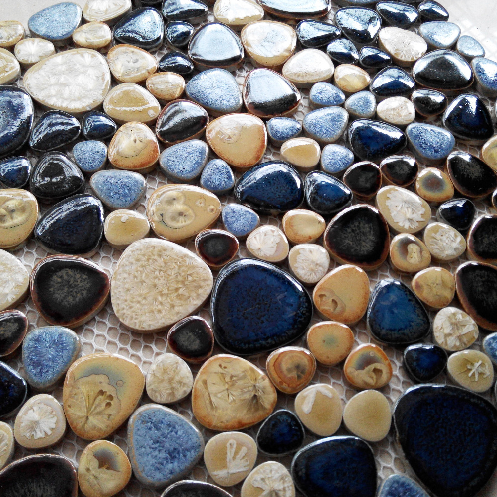 online shop tst porcelain pebbles art fambe mosaic blue glazed