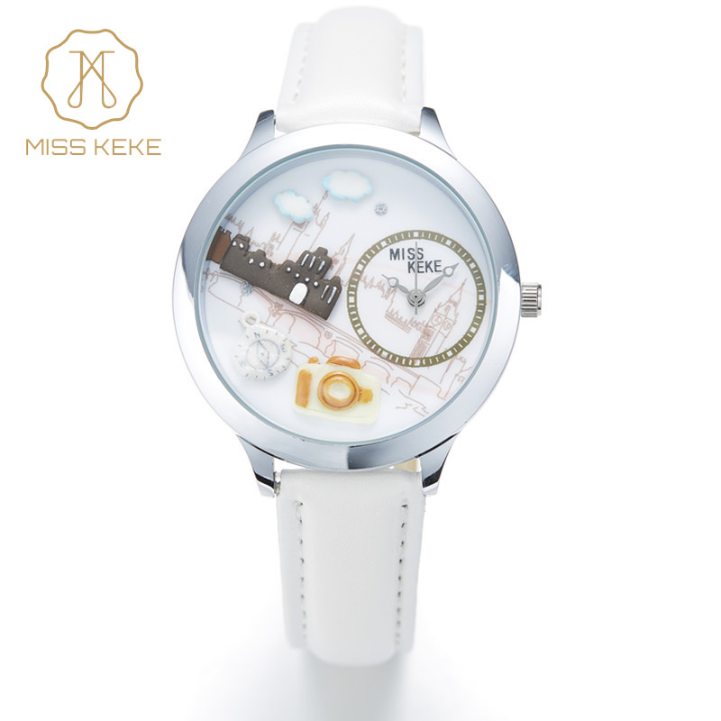 Miss Keke New 3d Clay Cute Mini World Big Ben London Paris Singapore Travel Kids Horloges Dames Dames Lederen Horloges 861