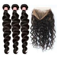 Предварительно сорвал 360 кружева фронтальной с Комплект 3 Свободные волна бразильские Инструменты для завивки волос Мёд queen hair продукты