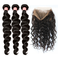 Pre Plucked 360 Lace Frontal With Bundle 3 Loose Wave Brazilian Virgin Hair Weaving Hair Extensions Honey Queen Hair Products