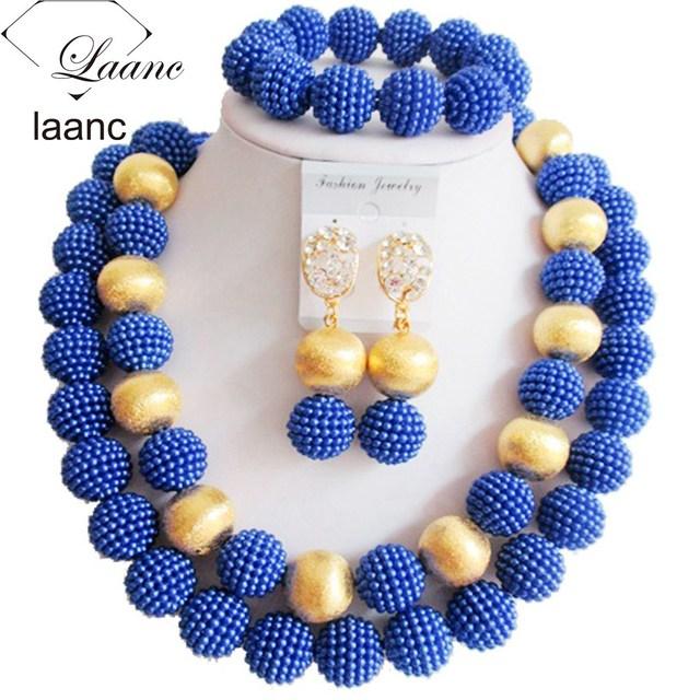 Contas africanos jóia set 2017 de casamento nigeriano africano contas de plástico azul royal pearl necklace para mulheres ABF307