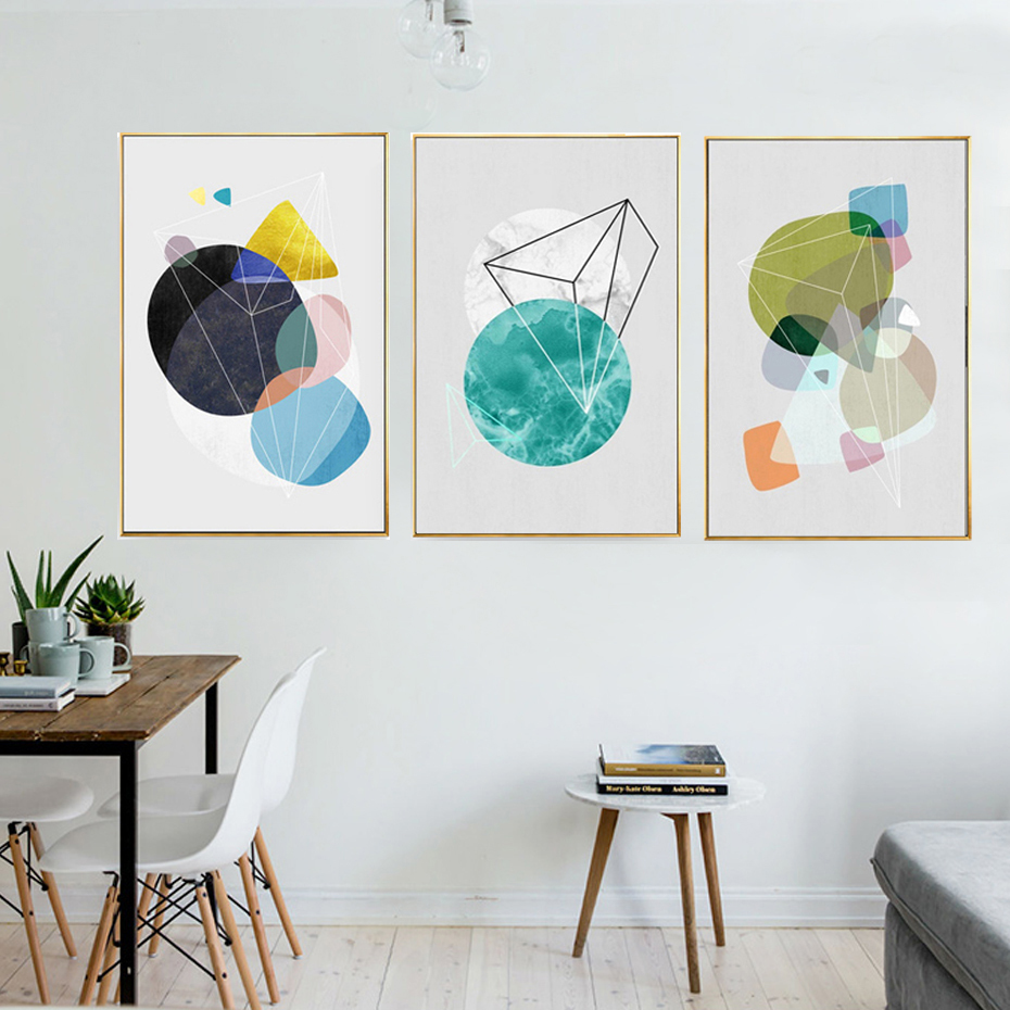 Abstract Geometric Canvas Paintings Nordic Minimalist Poster And Print Pop Wall Art Pictures For