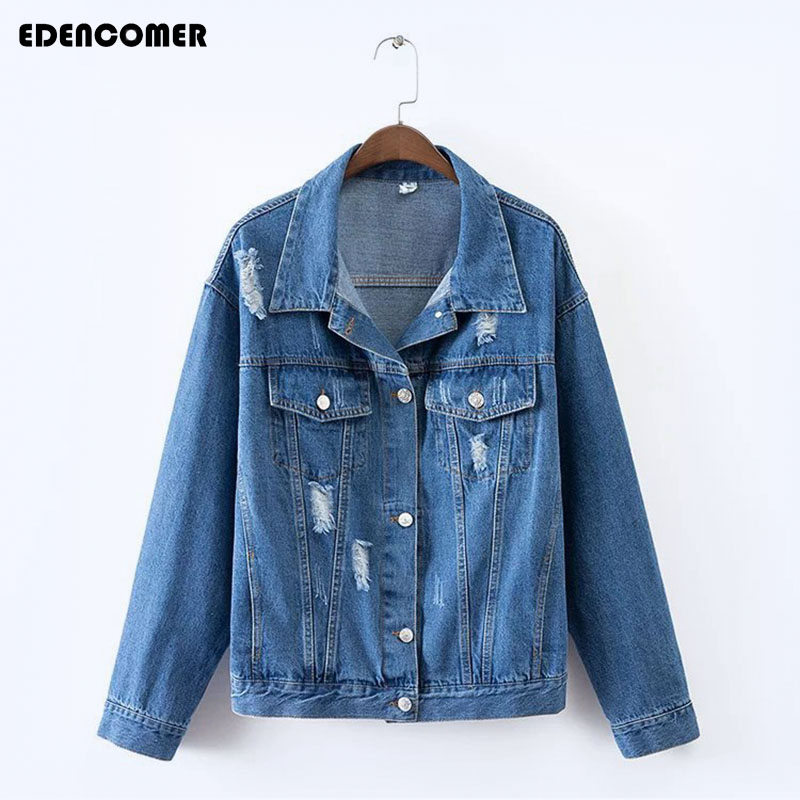 Plus Size Denim Short Jacket 2017 Autumn New Korean Hole Frayed Loose Large Size 3XL 4XL Womens Coats Solid Vintage Jackets