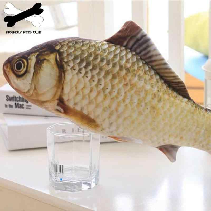 ぬいぐるみクリエイティブ 3D 鯉魚の形の猫のおもちゃのギフトかわいいシミュレーション魚演奏のおもちゃペットグッズキャットニップ魚ぬいぐるみ枕人形 23
