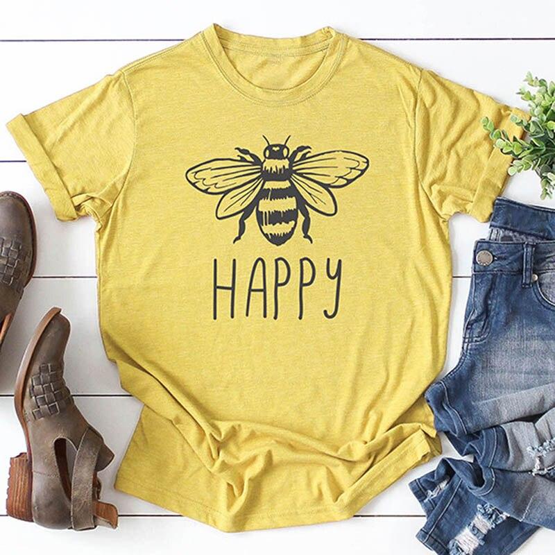 Bee Happy Tshirts Women Short Sleeve Bumble Bee Print T-shirts Summer Fashion Tumblr Shirt Inspiring TShirts Trendy Clothing