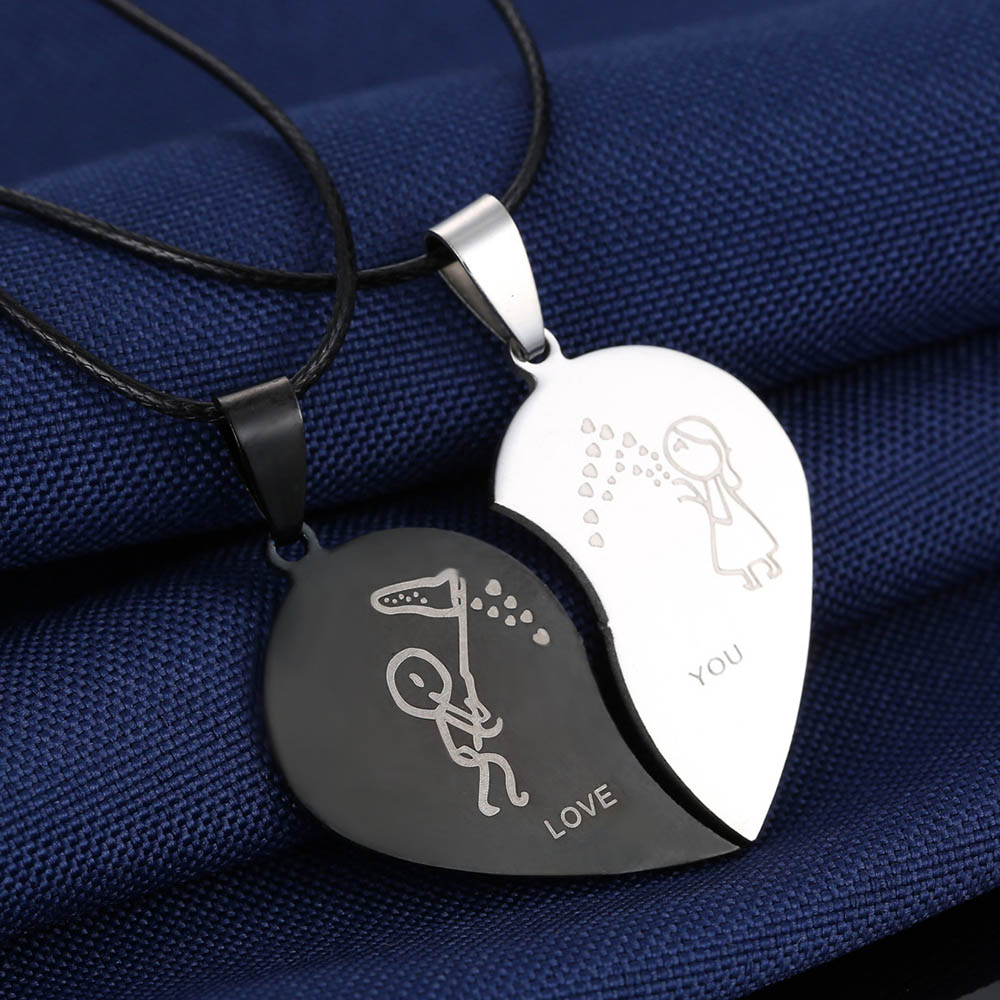 <font><b>Couples</b></font> <font><b>Jewelry</b></font> Broken Heart Necklaces Stainless Steel Engrave Love You Charm Pendants Necklace Valentine's Day collares kolye image