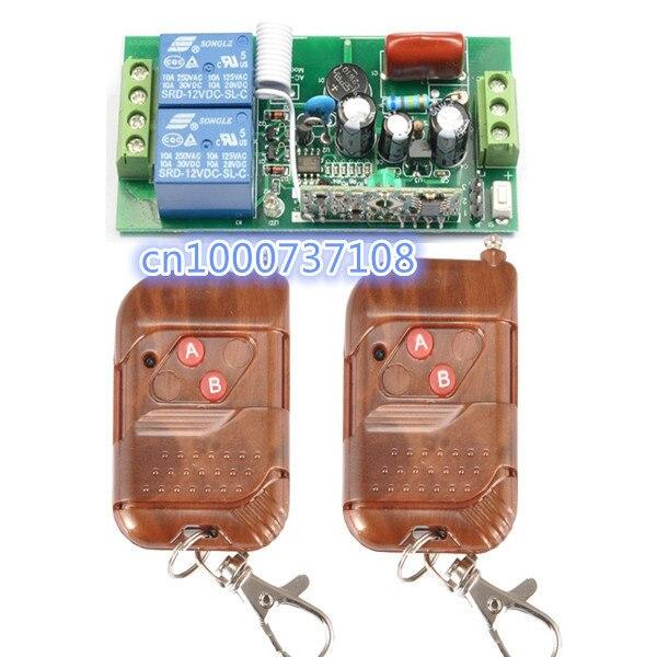 6b025d7c22b 220 V 2ch RF inalámbrico Control remoto Interruptores receptor y transmisor  con código de aprendizaje 433.92 MHz 315 MHz .