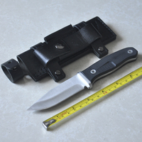 Camping Outdoor Tools Survival Knife Fixed Blade With Leather Sheath Fire Starter Hand Guards