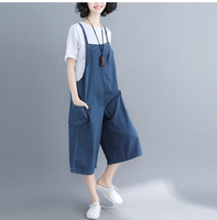 Casual Harajuku Boho Loose Baggy Wide Leg Cowboy Boyfriend Denim Blue Jeans Pantolon Overalls Calf Length Pants Women Capris