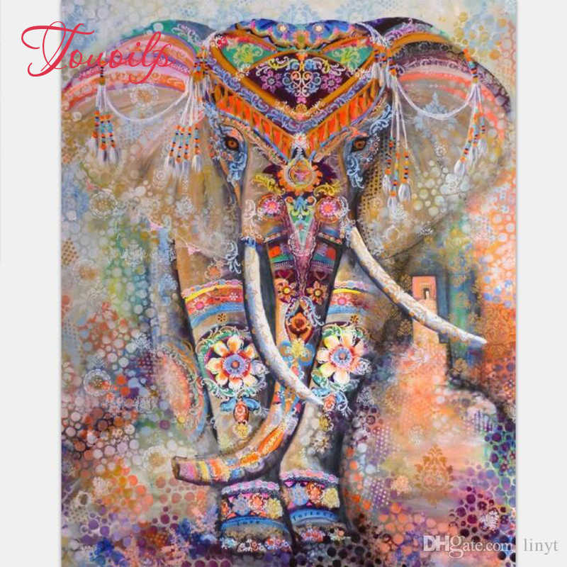 Wumedy DIY Elephant-Pattern Rhinestone Painting Home Living Room Decor Cross-Stitch