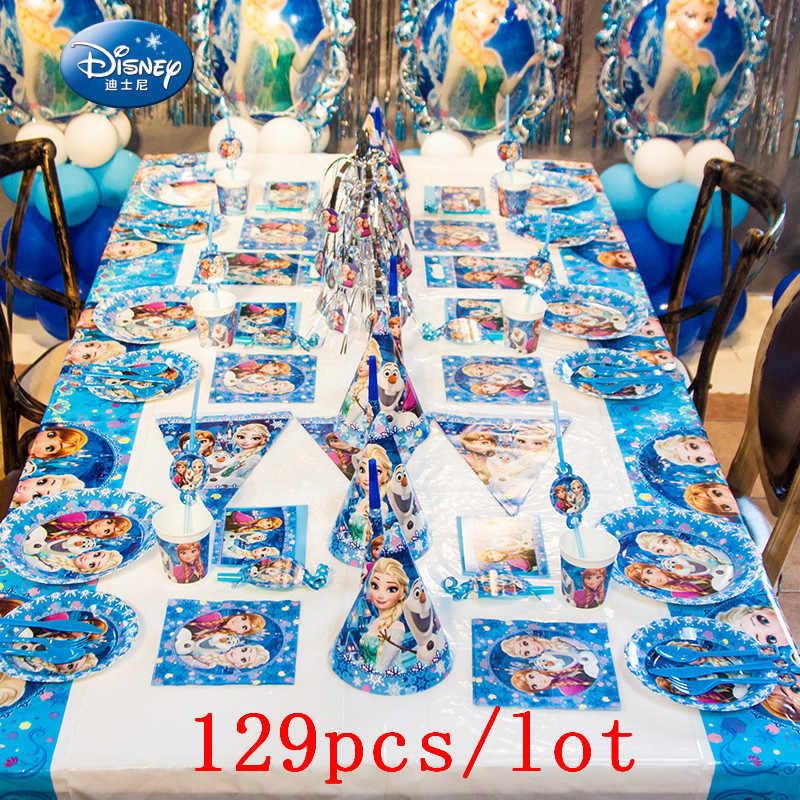 Alta Qualidade Congelado Anna Elsa Disney Talheres Descartáveis Prato Copo Guardanapo Bandeira Decoração De Aniversário Do Miúdo Set Alimentação 129 Pçs/lote