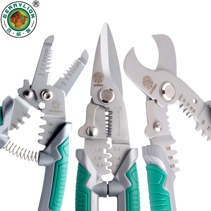 BERRYLION 7/8 Crimping Pliers 3 in 1 Wire Stripper Scissors For Cutting Cable Leather Electrician Hand Crimping Tools sheffield 8 inches 5 in 1 multifunctional electrician pliers electrical needle nose pliers wire stripper crimping 5 in 1 pliers