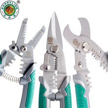 """Купить с кэшбэком BERRYLION 7""""/8"""" Crimping Pliers 3 in 1 Wire Stripper Scissors For Cutting Cable Leather Electrician Hand Crimping Tools"""