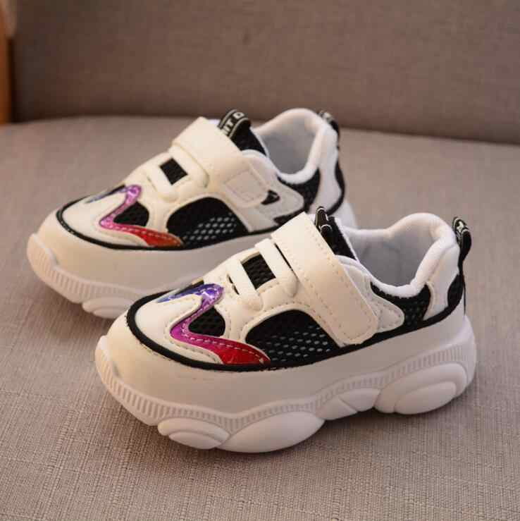2019 kinderen licht knipperen schoenen jongens meisjes ademend rood blauw gestreepte sport schoenen baby lichtgevende led verlichte sneakers