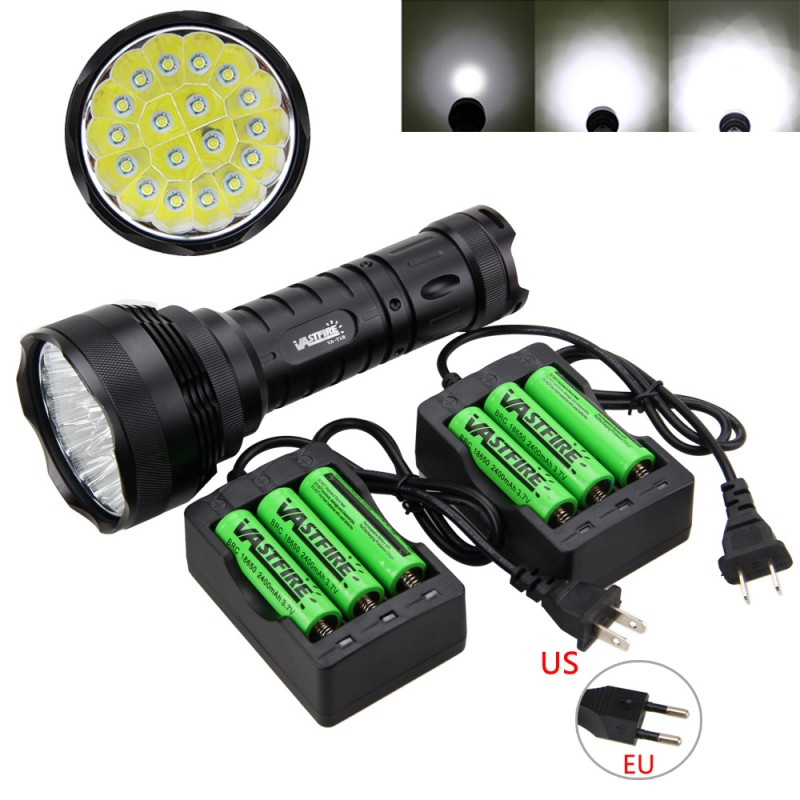 Rechargerable 5000lm 18x XM-T6 LED Flashlight Torch Hunting Outdoor Light Lamp with 6*18650+2*3Slot ChargerRechargerable 5000lm 18x XM-T6 LED Flashlight Torch Hunting Outdoor Light Lamp with 6*18650+2*3Slot Charger