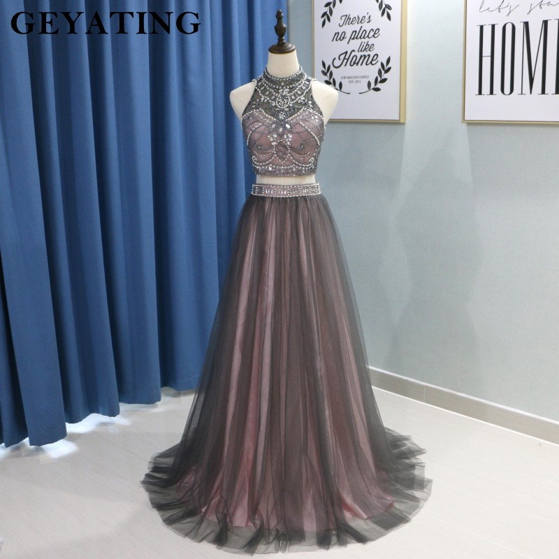 Brown Tulle Two 2 Pieces   Prom     Dresses   2019 Luxury Beaded Crystals Crop Top Long High Neck Evening   Dress   Graduation Party Gowns