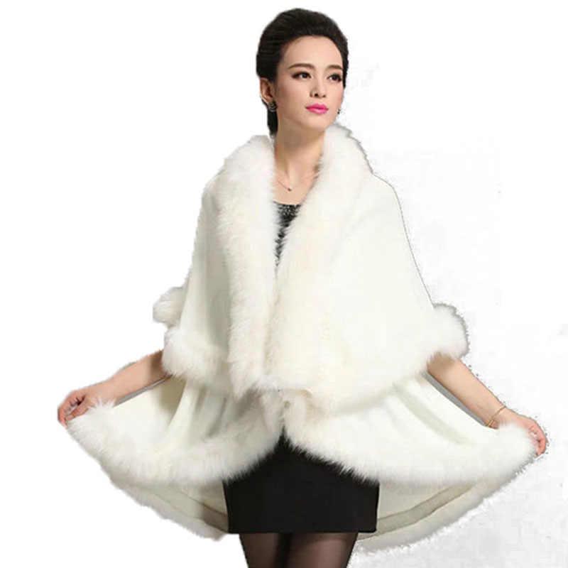 1964564fe11b8 Luxury Winter Woman Faux Fox Fur Shawls Cloak Cashmere Scarves Wraps Faux  Mink Fur Cape Poncho