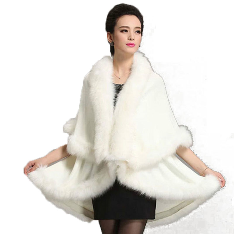 Luxury Winter Woman Faux Fox Fur Shawls Cloak Cashmere   Scarves     Wraps   Faux Mink Fur Cape Poncho Long Party Irregular Cardigan