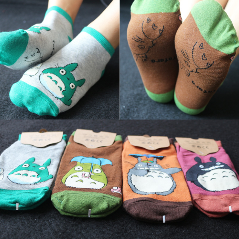 1 Pair Cute My Neighbor Totoro Cosplay Socks Plaid Striped Animal Totoro Lot Socks Summer Casual Personality Socks Plush Toy