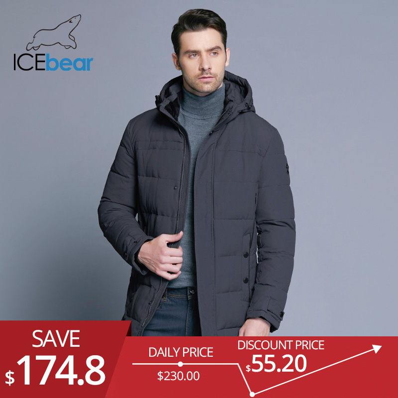 ICEbear 2018 Doux Tissu Hiver Hommes Veste Épaississement Occasionnel de Coton Vestes D'hiver Mi-longue Parka Hommes Marque Vêtements 17MD962D