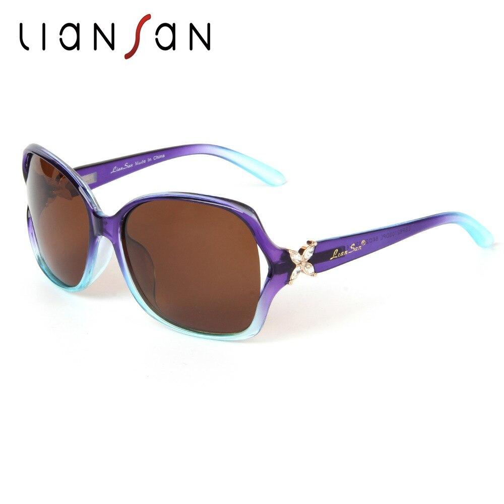 LianSan Vintage font b Polarized b font Sunglasses Women Brand Designer Plate Retro Diamond Butterfly Leg