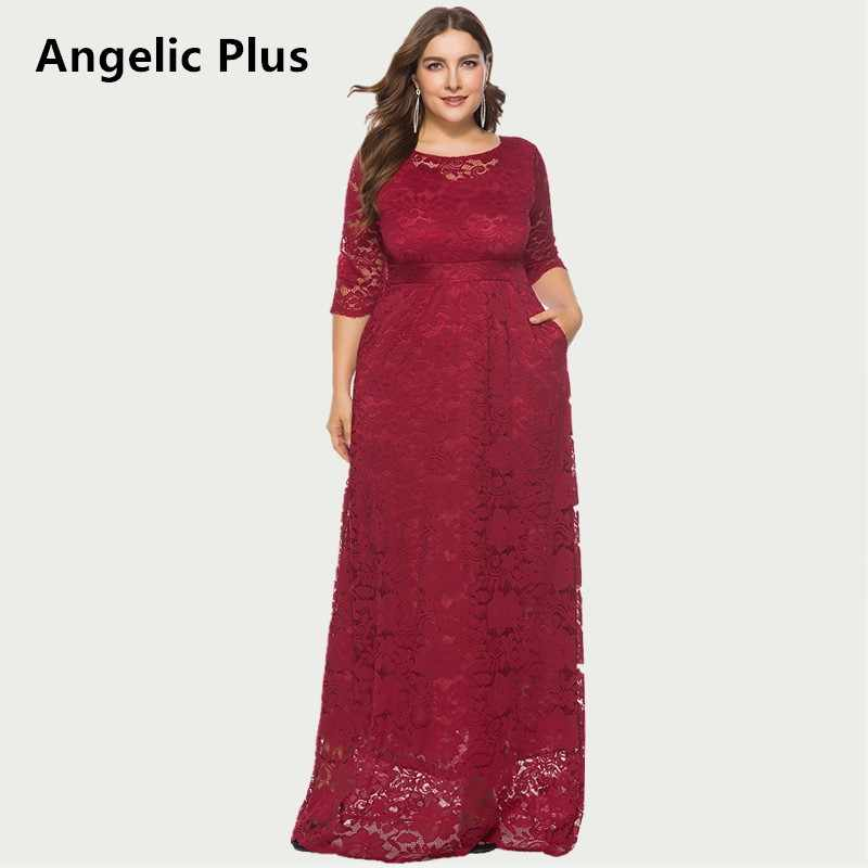 2dd1b04f59 2019 High Quality Elegant Prom Wedding Lace Dress Long Sleeve Casual Sexy  Plus Size Max Long Party Autumn Dress Women Dropship
