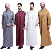 Fashion Muslim Clothing Men Robes Long Sleeve Embroidery Pattern Arab Dubai Indian Middle East Islamic Man Thobe Kaftan #48