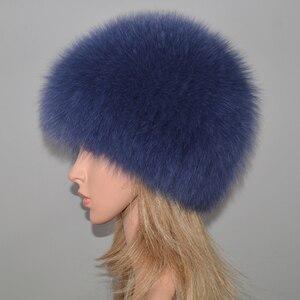 Image 2 - 女性の冬の自然本物のキツネの毛皮の帽子弾性暖かいソフトふわふわ本物のキツネの毛皮キャップ豪華な品質本物のキツネの毛皮爆撃機帽子
