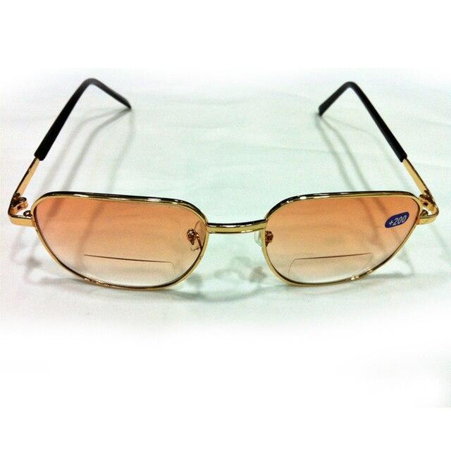 cd1bafc2e242e Homens Quadrado Unisex Hipermetropia Presbiopia Óculos de Leitura Bifocal  óculos Full Frame de Metal Espelho Simples