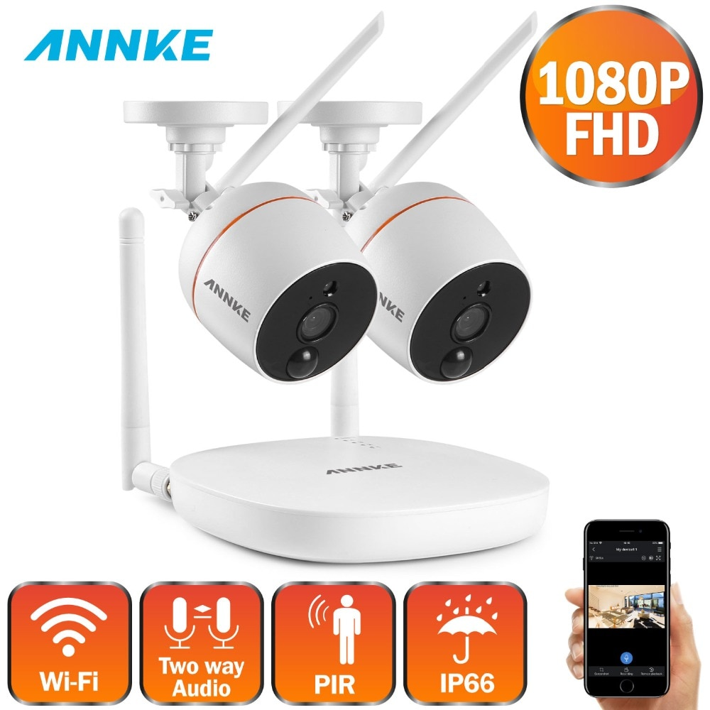 ANNKE 1080P 4CH  FHD Mini Wireless Video Surveillance System Wifi 2pcs 2MP IP Camera Two-way Audio PIR Home Security CCTV Kit