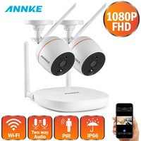 ANNKE 1080P 4CH FHD Mini Wireless Video Surveillance System Wifi 2pcs 2MP IP Camera Two way Audio PIR Home Security CCTV Kit