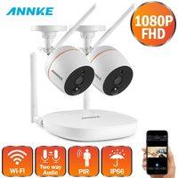 ANNKE 1080P 4CH FHD Mini Wireless Video Surveillance System Wifi 2pcs 2MP IP Camera Two way Audio PIR Home Security CCTV Kit