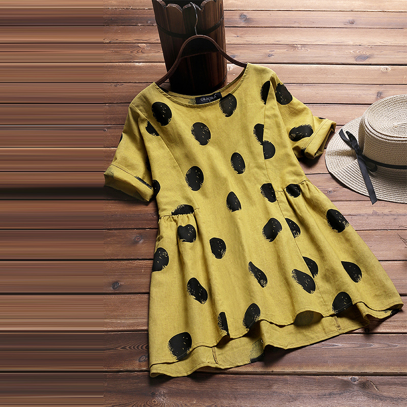 2018 Summer Autumn Top Vintage Women Cotton Linen Blouse Female Polka Dot Print Casual Blusa Ladies Plus Size Short Sleeve Shirt