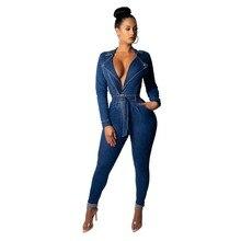 2d6c5f8fc0b6 Womens Jeans Jumpsuits Denim Long Pants Sexy Deep V Neck Slim Overalls  Jumpsuit Long sleeve Club Wear Bodysuit Romper Zipper