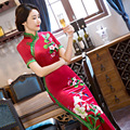 2017 New Arrival Autumn Long Velvet Cheongsam Red Dress Vintage Fashion Plus Size M-3XL Print Elastic Chinese Traditional Dress