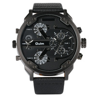 OULM Army Military Watch for Men Genuine Leather Strap Quartz Movement Sports Wristwatch Luxury Men's Watch Male Clock