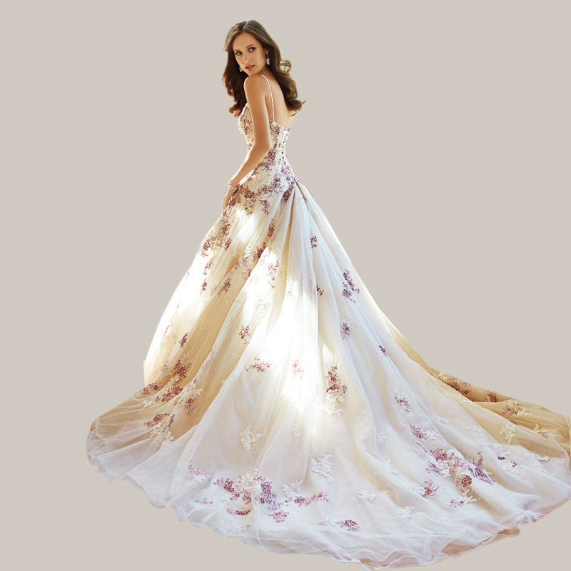 2016 new design sweet flower white and purple applique long lace up wedding dress bridal
