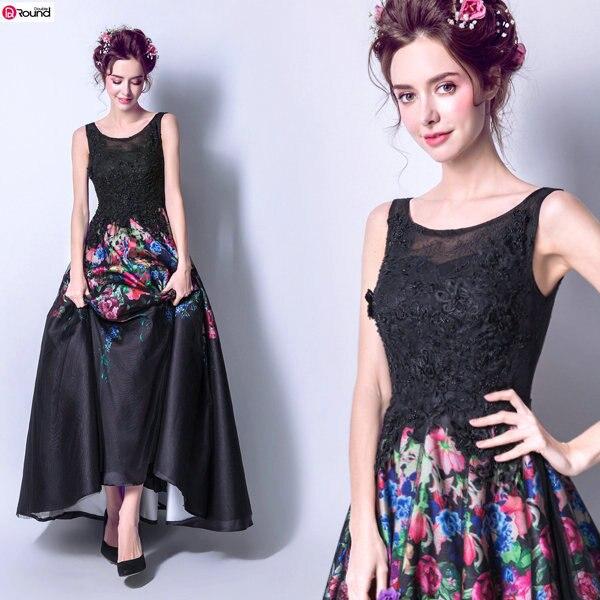 Nouveauté fascinant noir perles fleurs colorées décoré robe de bal 648