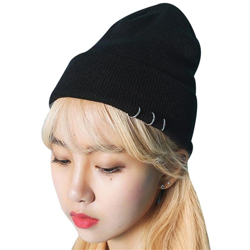 Kpop 2018 Fashion Hip Hop Caps Gorros Men Women   Beanie   Hats Wool Knit Warm   Skullies     Beanie   With Ring Ladies Mink Fur Hats Bonnet