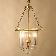 JAXLONG American Hanglamp Copper Bedroom Living Room Light Luxury Loft Art Glass Hanging Lamp Country Reading Kitchen
