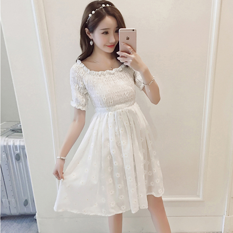 Maternity Dresses Summer Korean version Printed Maternity Dress Hot Mom Slim Clothes for Pregnant Women Beach Office Pregnancy ...