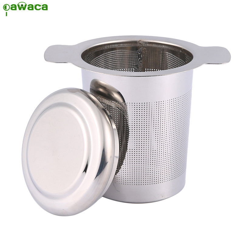 Cheap Tea Infuser Strainer Reusable Tea Filter Mug with Lid and Double Handle for Loose Leaf Grain Teapot Stainless Steel Silver lid