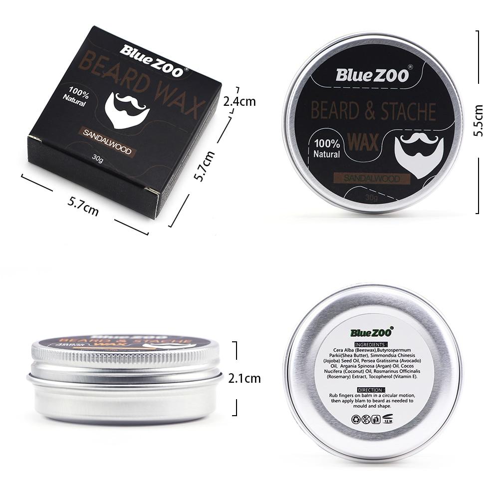 New 1 Box 30g Natural Organic Facial Beard Wax Beard Care Cream Tasteless Sandalwood Orange Eucalyptus 4 Taste Choice TSLM2 4