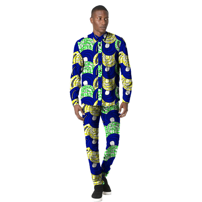 Brightl wax print men shirt+pant sets dashiki man shirts with trousers design man african outfit